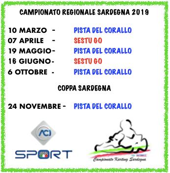 Calendario Campionato Regionale Karting Aci Sport Sardegna 2019